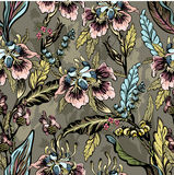 Seamless pattern of decorative flowers Stock Images