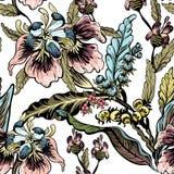 Seamless pattern of decorative flowers Stock Photos