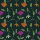 Seamless pattern. With decorative flowers and circles Stock Photography