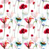 Seamless pattern with decorative flowers. Hand drawn floral elements for design Royalty Free Stock Photo