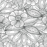 Seamless pattern with decorative flowers and leaves in doodle  Stock Photos