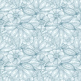Seamless pattern with decorative flowers and leaves in doodle  Stock Photo
