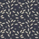 Seamless pattern with decorative flowers, leaves and polka dots Royalty Free Stock Images