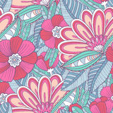 Seamless pattern with decorative flowers and leaves Stock Image
