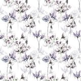 Seamless pattern with Decorative flowers. Watercolor illustration Stock Photos