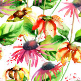 Seamless pattern with decorative flowers Stock Photo