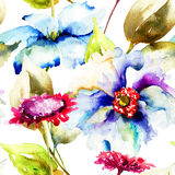 Seamless pattern with decorative flowers Royalty Free Stock Images