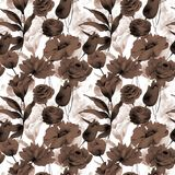 Seamless pattern with Decorative flowers. Watercolor illustration Royalty Free Stock Images