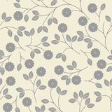Seamless pattern with decorative grey flowers and leaves on ivor Royalty Free Stock Images