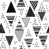Seamless pattern with decorative hand-drawn triangles. Vector bl Stock Images