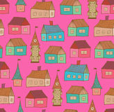 Seamless pattern with decorative houses. City back Stock Photos