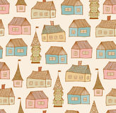 Seamless pattern with decorative houses Stock Photos