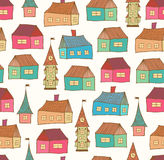 Seamless pattern with decorative houses. City background. Hand drawn town template Royalty Free Stock Photos