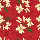 Seamless pattern with decorative lilies. Decorative background with lily flower vector illustration