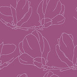 Seamless pattern with decorative magnolias flowers. Vector flora. L background Royalty Free Stock Images