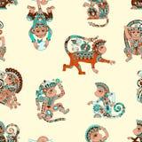 Seamless pattern with decorative monkey animal Stock Image