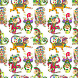 Seamless pattern with decorative monkey animal Royalty Free Stock Photography
