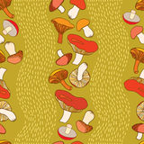 Seamless pattern with decorative mushrooms and stripes Royalty Free Stock Photo