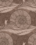 Seamless pattern with decorative ornamental snails. Stock Photography
