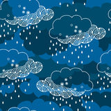 Seamless pattern with decorative rainy cloud Stock Photo