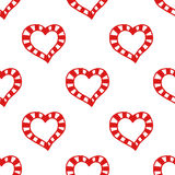 Seamless pattern of decorative red hearts, romantic background. Seamless pattern of decorative red hearts, romantic background, illustration Stock Photo