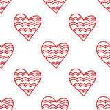 Seamless pattern of decorative red hearts, romantic background. Vector illustration Stock Image