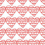 Seamless pattern of decorative red hearts, romantic background. Vector illustration Stock Images