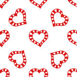 Seamless pattern of decorative red hearts, romantic background. Vector illustration Stock Photography