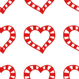 Seamless pattern of decorative red hearts, romantic background. Vector illustration Royalty Free Stock Photo