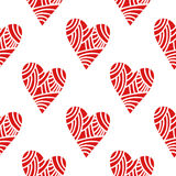 Seamless pattern of decorative red hearts, romantic background. Vector illustration Stock Photo