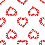 Seamless pattern of decorative red hearts, romantic background. Vector illustration Stock Photos