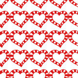 Seamless pattern of decorative red hearts, romantic background. Vector illustration Royalty Free Stock Image