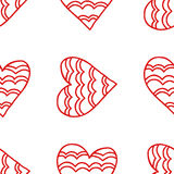 Seamless pattern of decorative red hearts, romantic background. Vector illustration Royalty Free Stock Photography