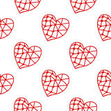 Seamless pattern of decorative red hearts, romantic background. Vector illustration. Seamless pattern of decorative red hearts, romantic background, illustration Stock Photo
