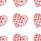 Seamless pattern of decorative red hearts, romantic background. Vector illustration. Seamless pattern of decorative red hearts, romantic background, illustration Stock Images