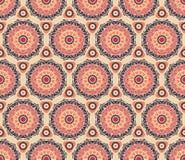 Seamless pattern. Decorative rosettas in hexagon pattern Royalty Free Stock Photo