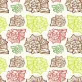 Seamless pattern with decorative seashells Stock Images