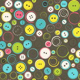 Seamless Pattern with Decorative Sewing Buttons over Brown Stock Photos