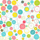 Seamless Pattern with Decorative Sewing Buttons over White Stock Image