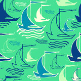 Seamless pattern with decorative ships Stock Photo