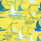 Seamless pattern with decorative ships Stock Photos