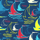 Seamless pattern with decorative ships. Vector illustration. Template for decoration and design Royalty Free Stock Image