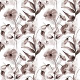 Seamless pattern with Decorative summer flowers. Watercolor illustration Royalty Free Stock Images