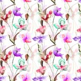 Seamless pattern with Decorative summer flowers. Watercolor illustration Royalty Free Stock Photo