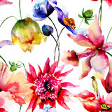 Seamless pattern with Decorative summer flowers Stock Images