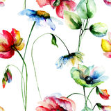 Seamless pattern with Decorative summer flowers Royalty Free Stock Photography