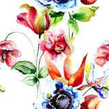 Seamless pattern with Decorative summer flowers Royalty Free Stock Photo