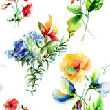 Seamless pattern with Decorative summer flowers Royalty Free Stock Images