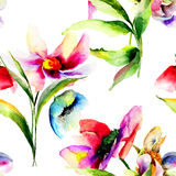 Seamless pattern with Decorative summer flowers Stock Photos