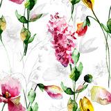 Seamless pattern with Decorative summer flowers Royalty Free Stock Image